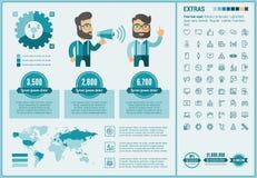社会媒介平的设计Infographic模板 免版税库存照片