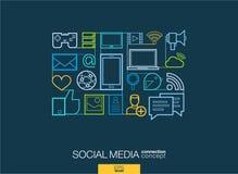 社会媒介提取背景,联合稀薄的线标志 免版税图库摄影
