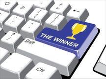 社会媒介概念:进入有优胜者的按钮在计算机上 库存照片
