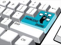 社会媒介概念:进入有分享在com的知识的按钮 免版税库存照片