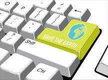 社会媒介概念:进入有救球的按钮在comput的地球 图库摄影