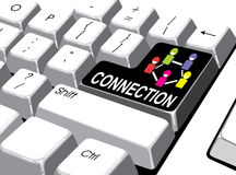社会媒介概念:进入有连接的按钮在计算机上 图库摄影