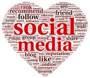 社会媒介爱在词标记云彩的conept 库存照片