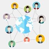 社会媒介盘旋全球性人通信 平的事务 库存照片