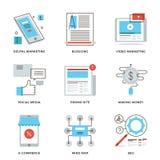 社会媒介营销线被设置的象 免版税图库摄影
