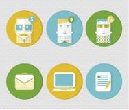 社会媒介象 用户infographic象 五颜六色的男性面孔 在网和机动性的Applicatio时髦平的样式设置的圈子象 免版税库存照片