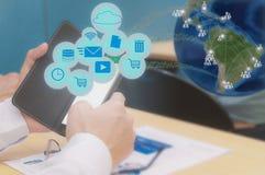社会网络和点 免版税库存照片