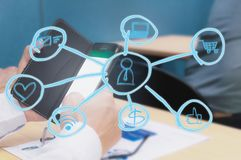 社会网络和点 免版税图库摄影