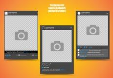 社会网络图片的黑暗的照片框架有明亮的橙黄色背景和透明窗口 向量 图库摄影