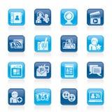 社会网络连接和通信图标 免版税图库摄影