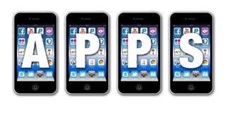 社会网络连接的Apps在移动电话 库存例证