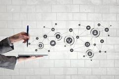 社会网络连接 混合画法 图库摄影