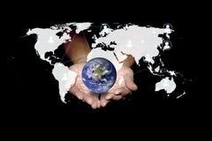 社会网络可能帮助世界是绿色的 技术concep 免版税图库摄影