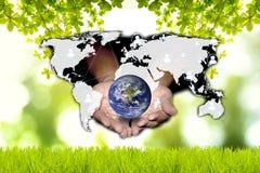 社会网络可能帮助世界是绿色的 绿色和technol 图库摄影