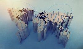 社会网络在世界地图的人的3d 免版税库存图片