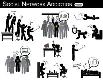 社会网络瘾 人用途智能手机每次,到处(在休息室、办公室、家、公共汽车,餐厅)和ig 向量例证