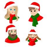 社会网络的新年的具体化 人们在圣诞老人的盖帽女孩人人圣诞快乐 向量例证