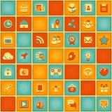 社会网络的方形的样式在减速火箭的颜色的 库存例证