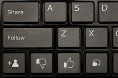 社会网络键盘 免版税库存图片