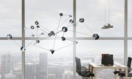 社会连接和网络 混合画法 库存图片