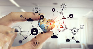 社会连接和网络 混合画法 混合画法 库存图片