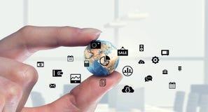 社会连接和网络 混合画法 混合画法 免版税图库摄影