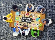 社会连接社会媒介C的网络互联网网上社会 免版税库存照片
