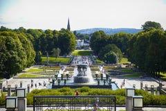 社论奥斯陆,挪威- 2016年8月18日:许多旅游步行Vige 免版税库存图片