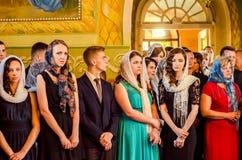 社论报告文学为时响铃卢茨克第11年级高中14 30 05 15 免版税库存照片
