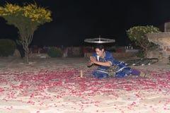 社论:拉贾斯坦,印度:2015年12月19日, :传统拉贾斯坦舞蹈表现 库存照片