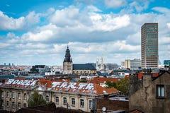 社论:2017年4月16日:布鲁塞尔,比利时 老结构 免版税库存图片