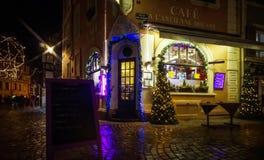 社论:2016年12月22日:科尔马,法国 圣诞节highlig 库存图片