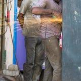 社论说明图象 可怜的工作者人在印度 库存图片