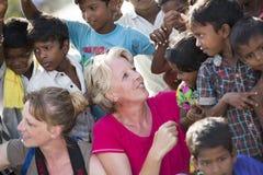 社论说明图象 小组印地安孩子,印度 免版税图库摄影
