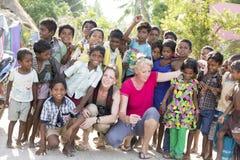 社论说明图象 小组印地安孩子,印度 库存图片