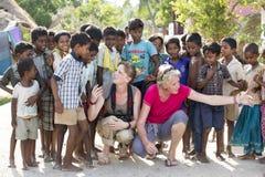 社论说明图象 小组印地安孩子,印度 库存照片