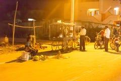 社论说明图象 村庄在夜之前在印度 免版税库存照片
