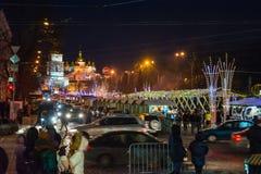 社论 Kyiv/乌克兰- 2018年1月, 13日:圣诞节Mikhailovskaya装饰和看法在基辅, Ukrain的中心摆正 免版税库存图片