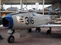 社论F-86马刀F古董博物馆布鲁塞尔Belgim 库存图片