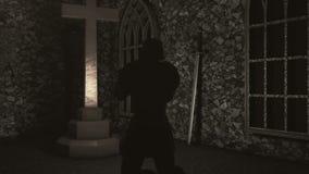 祈祷在十字架前面的烈士骑士