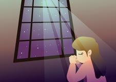 祈祷在向量的女孩 库存图片