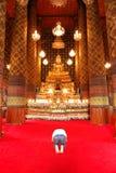 祈祷在寺庙 库存照片