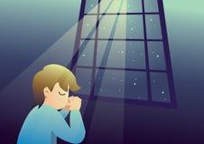 祈祷在晚上的男孩对神 向量例证