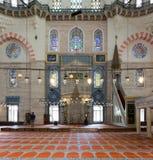 祈祷在Suleymaniye清真寺,伊斯坦布尔,土耳其的很少人 库存图片
