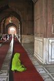 祈祷孕妇的穆斯林 免版税库存照片