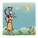 祈祷对月亮 库存照片