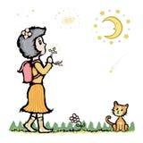 祈祷对月亮 免版税库存照片