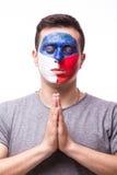 祈祷捷克 捷克足球迷为比赛捷克祈祷 免版税图库摄影