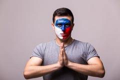 祈祷捷克 捷克足球迷为比赛捷克祈祷 库存图片