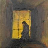祈祷的修士,油画 免版税库存图片